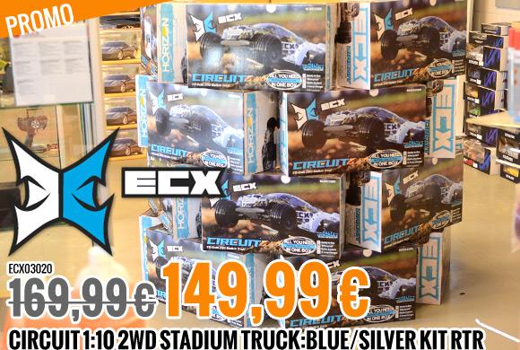 Promo : 169,99 € 149,99 € ECX Circuit 1:10 2WD Stadium truck Kit RTR