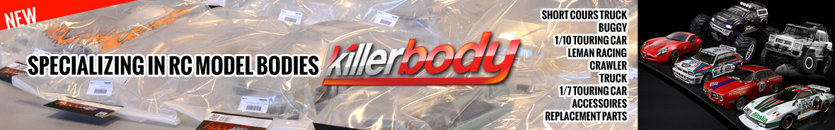 Killerbodies Specializing in RC Model Bodies (short cours truck, buggy, 1/10 touring car, leman racing, crawler, truck, 1/7 touring car, accessoires, replacement parts)