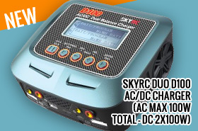 SKYRC DUO D100 AC/DC CHARGER (AC MAX 100W TOTAL - DC 2X100W)