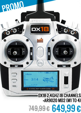Spektrum DX18 2,4GHZ 18 ch. + AR9020 MD2 (M1 to 4)
