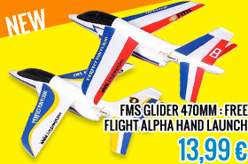 FMS GLIDER 470MM : FREE FLIGHT ALPHA HAND LAUNCH