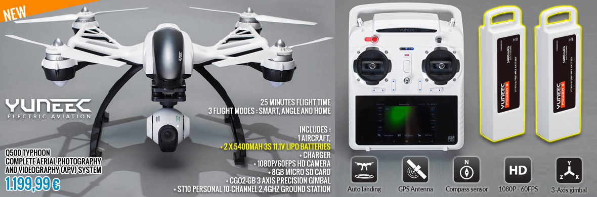 Yuneec Q500 TYPHOON complete aerial photography and videography (APV) system 1.199,99 €