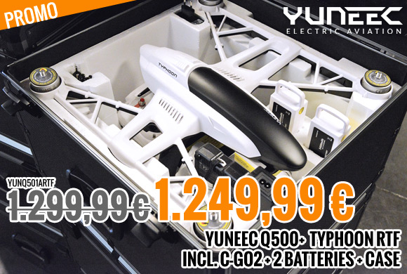 Yuneec Q500+ Typhoon RTF + C-GO2 + 2 batteries + case YUNQ501ARTF 1.299,99 € 1.249,99 €