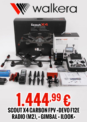 Walkera SCOUT X4 Carbon FPV with DEVO F12E radio (m2), gimbal & Ilook+ 1.444,99 €