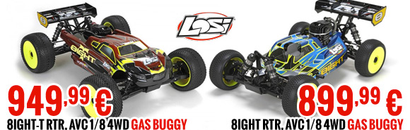 8IGHT & 8IGHT-T RTR, AVC 1/8 4WD Gas Buggy 899,99 € & 949,99 €