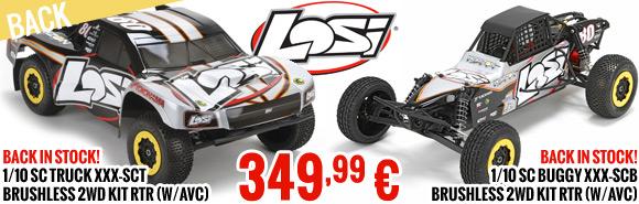Losi 1/10 SC Truck XXX-SCT Brushless 2WD kit RTR (avec AVC) - LOS03002 - 349,99 € - Losi 1/10 SC Buggy XXX-SCB Brushless 2WD kit RTR (avec AVC) - LOS03003 - 349,99 €