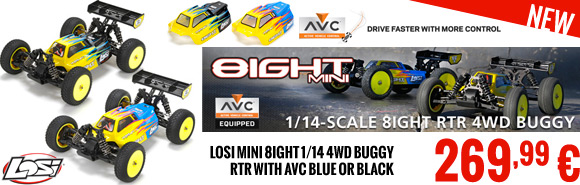 Losi Mini 8IGHT 1/14 4WD Buggy RTR with AVC Blauw of Zwart