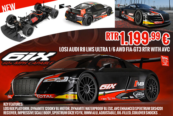 Losi Audi R8 LMS Ultra 1/6 AWD FIA-GT3 RTR with AVC
