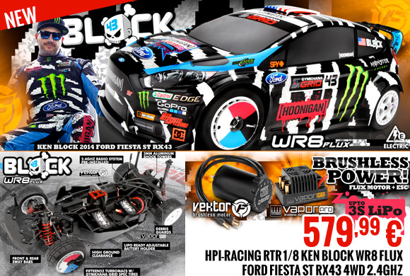 HPI-Racing RTR 1/8 Ken Block WR8 Flux Ford Fiesta ST RX43 4WD 2.4GHz 579,99 €
