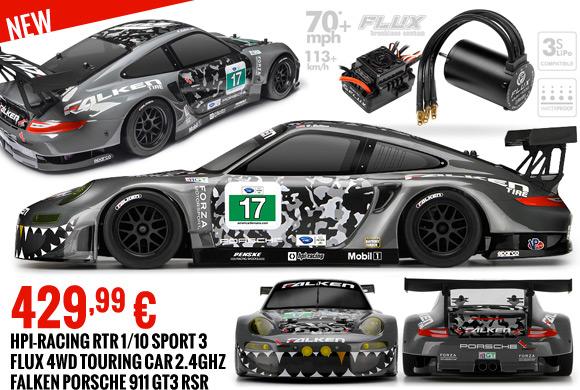 HPI-Racing RTR 1/10 Sport 3 Flux 4WD Touring Car 2.4GHz Falken Porsche 911 GT3 RSR 429,99 €