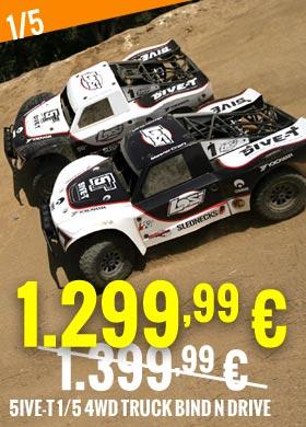 Promo : Losi 5ive-T 1/5 4WD Truck tout-terrain Bind n Drive White-Black LOSB0019BLKBD LOSB0019WHTBD 1.399,99 € -> 1.299,99 €