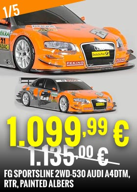 Promo : FG Sportsline 2WD-530 Audi A4DTM, RTR, painted Albers FG144147R 1.135,00 € -> 1.099,99 €