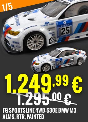 Promo : FG Sportsline 4WD-530E BMW M3 ALMS, RTR, painted FG178179R 1.295,00 € -> 1.249,99 €