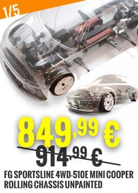 Promo : FG Sportsline 4WD-510E Mini Cooper rolling chassis unpainted FG175180B 914,99 € -> 849,99 €