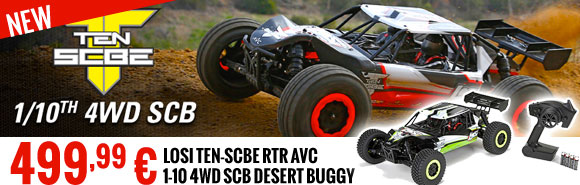 Losi TEN-SCBE RTR AVC 1-10 4WD SCB Desert buggy (green or red) 499,99 €