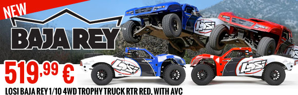 New : Losi Baja Rey 1/10 4WD Trophy Truck RTR red, with AVC 519,99 €