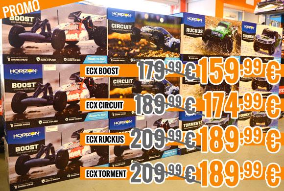 Promo : ECX Boost, Circuit, Ruckus, Torment 179,99 € > 159,99 €, 189,99 € > 174,99 €, 209,99 € > 189,99 €