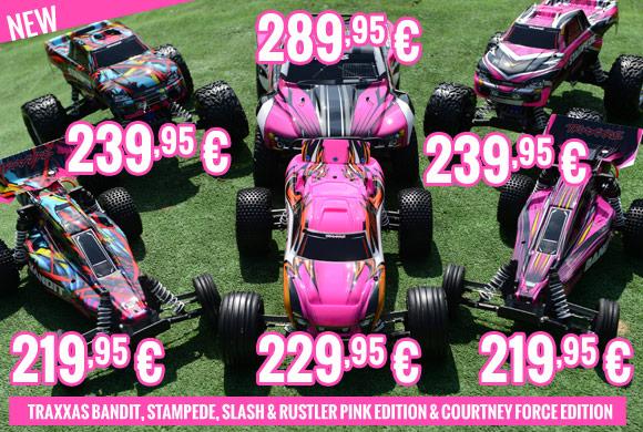 Traxxas Bandit, Stampede, Slash & Rustler Pink Edition & Courtney Force Edition