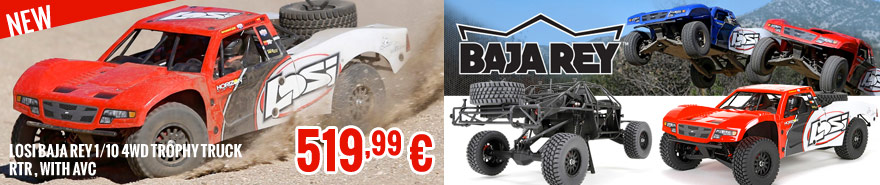 Losi Baja Rey 1/10 4WD Trophy Truck RTR red, with AVC 519,99 €