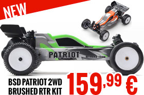 BSD Patriot 2wd Brushed RTR Kit - Green/Orange 159,99 €