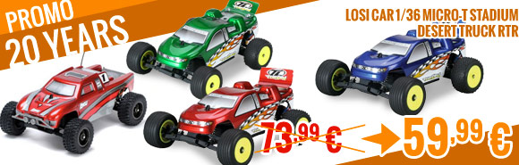 Losi Car 1/36 Micro-T Stadium / Desert Truck RTR Blue / Green / Red 73,99 € > 59,99 €