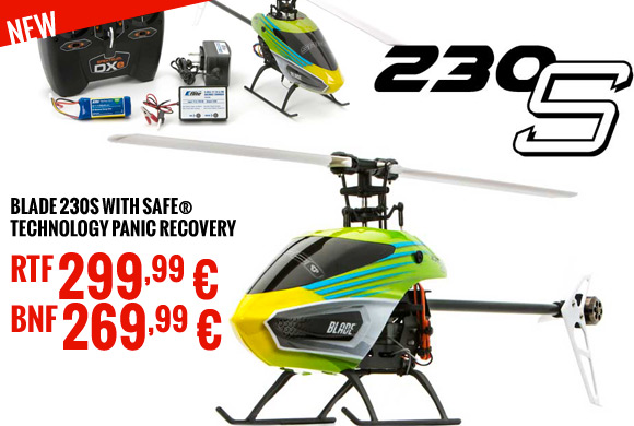 Blade 230S Intermediate Collective-Pitch Helicopter with SAFE® Technology Panic Recovery RTF 299,99 € - BNF 269,99 €