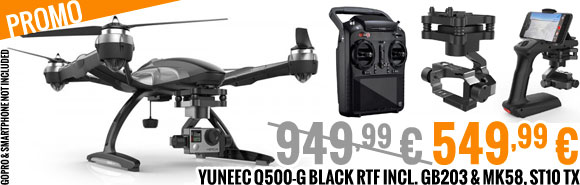 PROMO Yuneec Q500-G Black RTF incl. GB203 & MK58, ST10 TX 949,99 € 549,99 €
