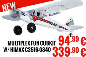 Multiplex Kit Funcub 94,99 € / Multiplex RR FunCub with Himax C3516-0840 339,90 €