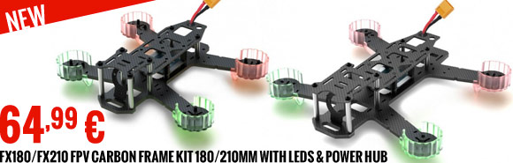 SkyRC FX210/FX180 FPV carbon frame kit 210/180 mm with Leds & power hub 64,99 €