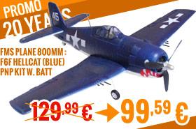 FMS Plane 800mm : F6F Hellcat (Blue) PNP kit w. batt 129,99 € > 99,59 €