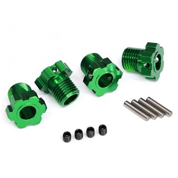 Wheel hubs, splined, 17mm (green-anodized) (4)/ 4x5 GS (4), 3x14mm pi
