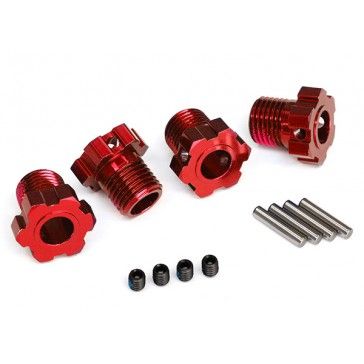 Wheel hubs, splined, 17mm (red-anodized) (4)/ 4x5 GS (4), 3x14mm pin
