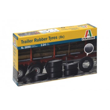TRAILER RUBBER TYRES (8X) 1:24