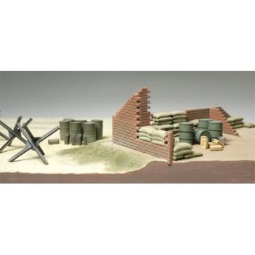 Barricade et sacs de sable