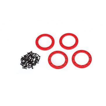 Beadlock rings, red (1.9') (aluminum) (4)/ 2x10 CS (48)