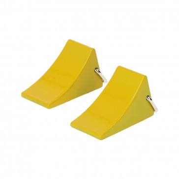 Metal wheel chocks (2 pcs) - Yellow