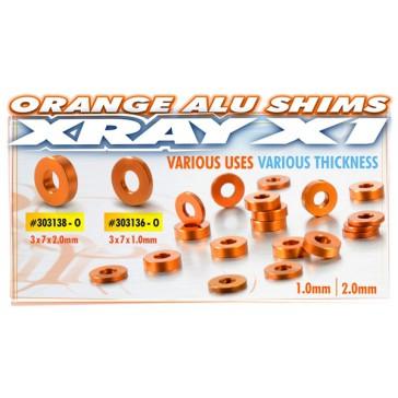 ALU SHIM 3x7x2.0MM - ORANGE (10)