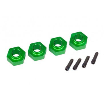 Wheel hubs, 12mm hex, 6061-T6 aluminum (green-anodized) (4)/ screw pi