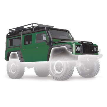Body, Land Rover Defender, green (complete with ExoCage, inner fender