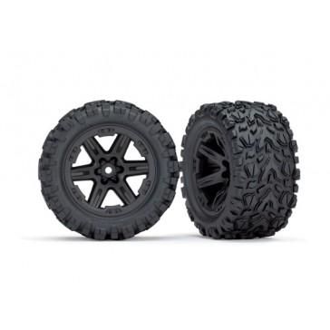 Tires & wheels assembled&glued (2.8) Rustler 4X4 black wheels, Talon
