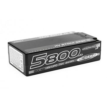 HV Stock Spec Shorty GRAPHENE-3 5800mAh 7.6V LiPo - 130C/65C