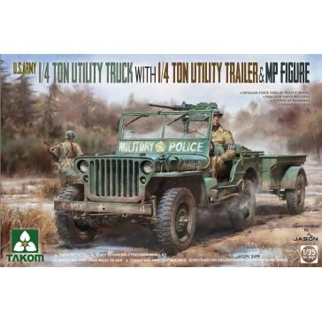 1/4 Ton Utility Truck with 1/4 Ton Utility Trailer & MP Figure 1/35