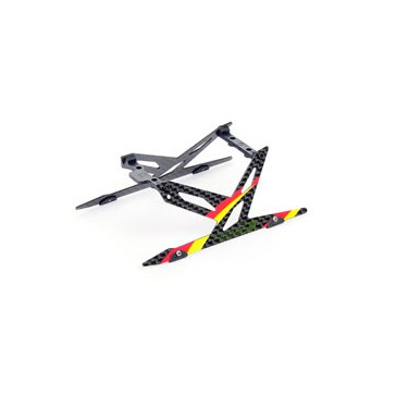 DISC.. Carbon Landing Skid Set (Red) - Blade 130X