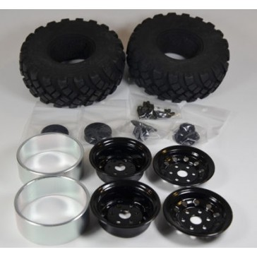 1.9' complete tyres black hub,2unit/kit