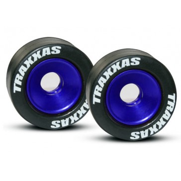 Wheels, aluminum (blue-anodized) (2)/ 5x8mm ball bearings (4