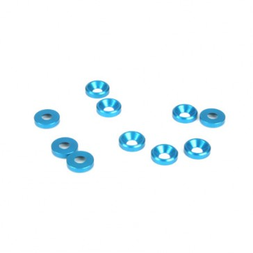 DISC.. 4mm Countersunk Washer. Blue (10)
