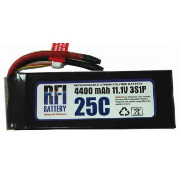 DISC.. Lipo Batterij 4000mAh 25C/50C 11,1V (3S) 23x50x148 - 315g Red