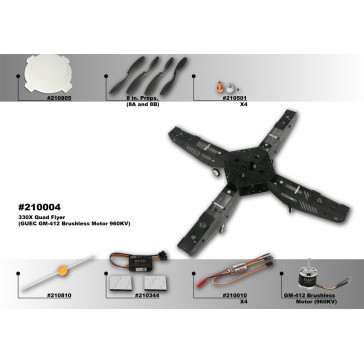 DISC.. 330X-Silver Quad Flyer Combo kit (Motors, ESC & GU-344)
