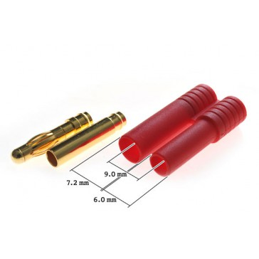 DISC.. Connector : 4.0mm gold plated plug with red housing (S) (1pc)