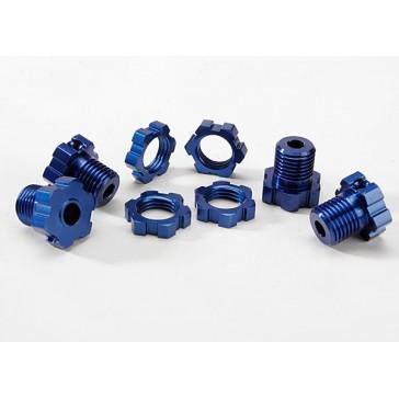 Wheel hubs, splined, 17mm (blue-anodized) (4)/ wheel nuts, s